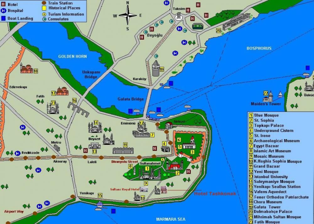 Схематическая карта исторического центра Стамбула