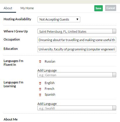 Заполнение профиля на сервисе каучсерфинг